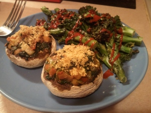 Chickpea and spinach stuffed mushrooms